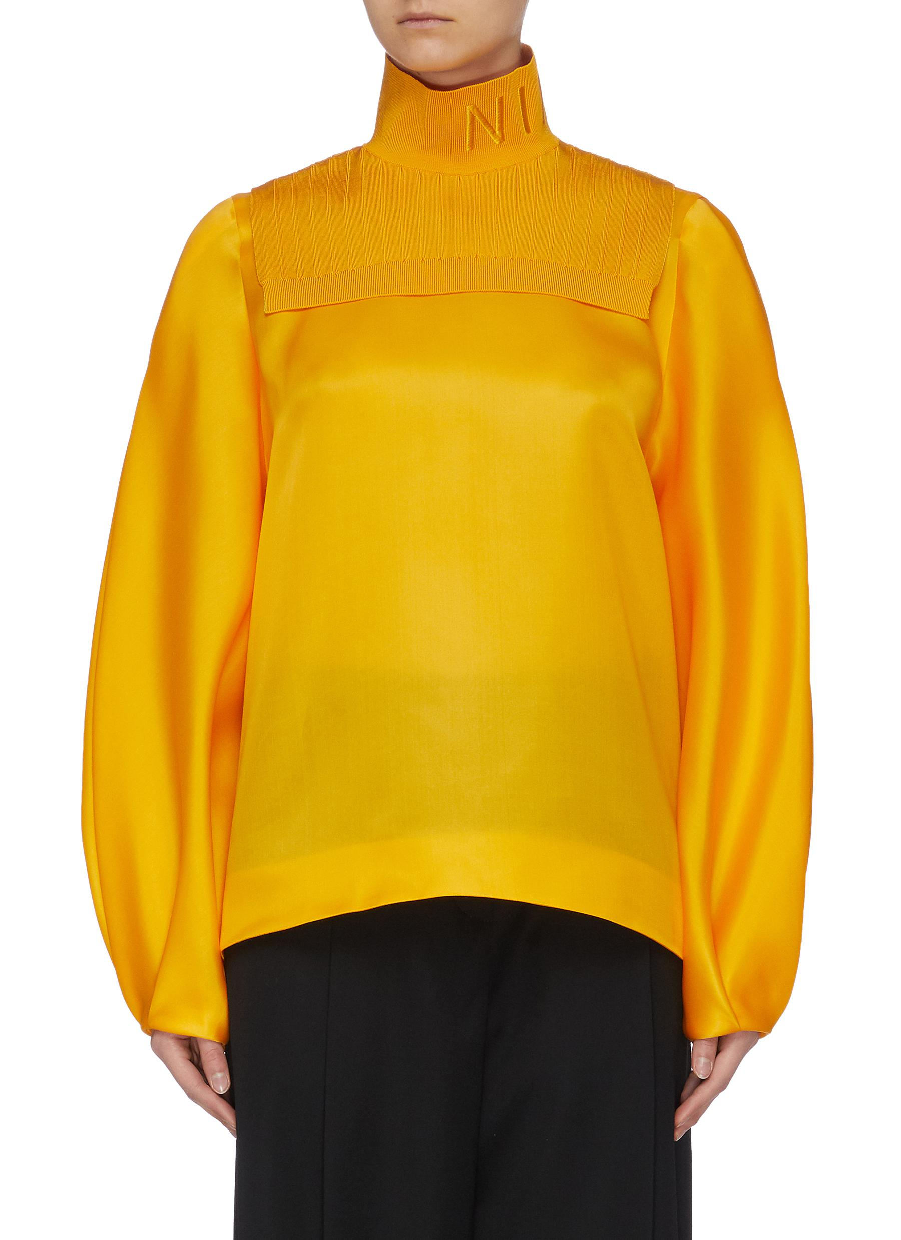 shop Nina Ricci 'Nina' logo embroidered knit turtleneck bib top online
