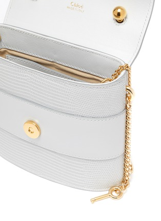 Detail View - Click To Enlarge - CHLOÉ - 'Abylock' logo croc-embossed leather shoulder bag