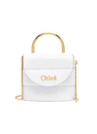 Main View - Click To Enlarge - CHLOÉ - 'Abylock' logo croc-embossed leather shoulder bag