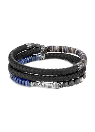 Main View - Click To Enlarge - JOHN HARDY - 'Classic Chain' mix bead silver leather triple wrap bracelet