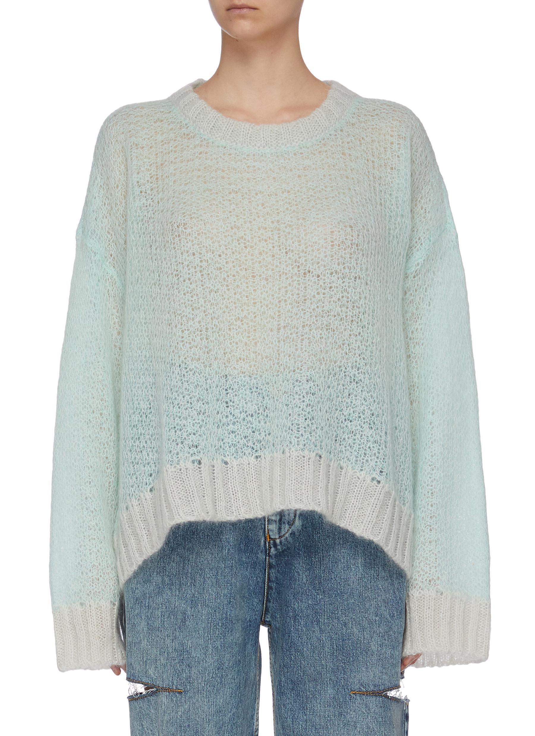 shop Maison Margiela Contrast ribbed hem open knit sweater online