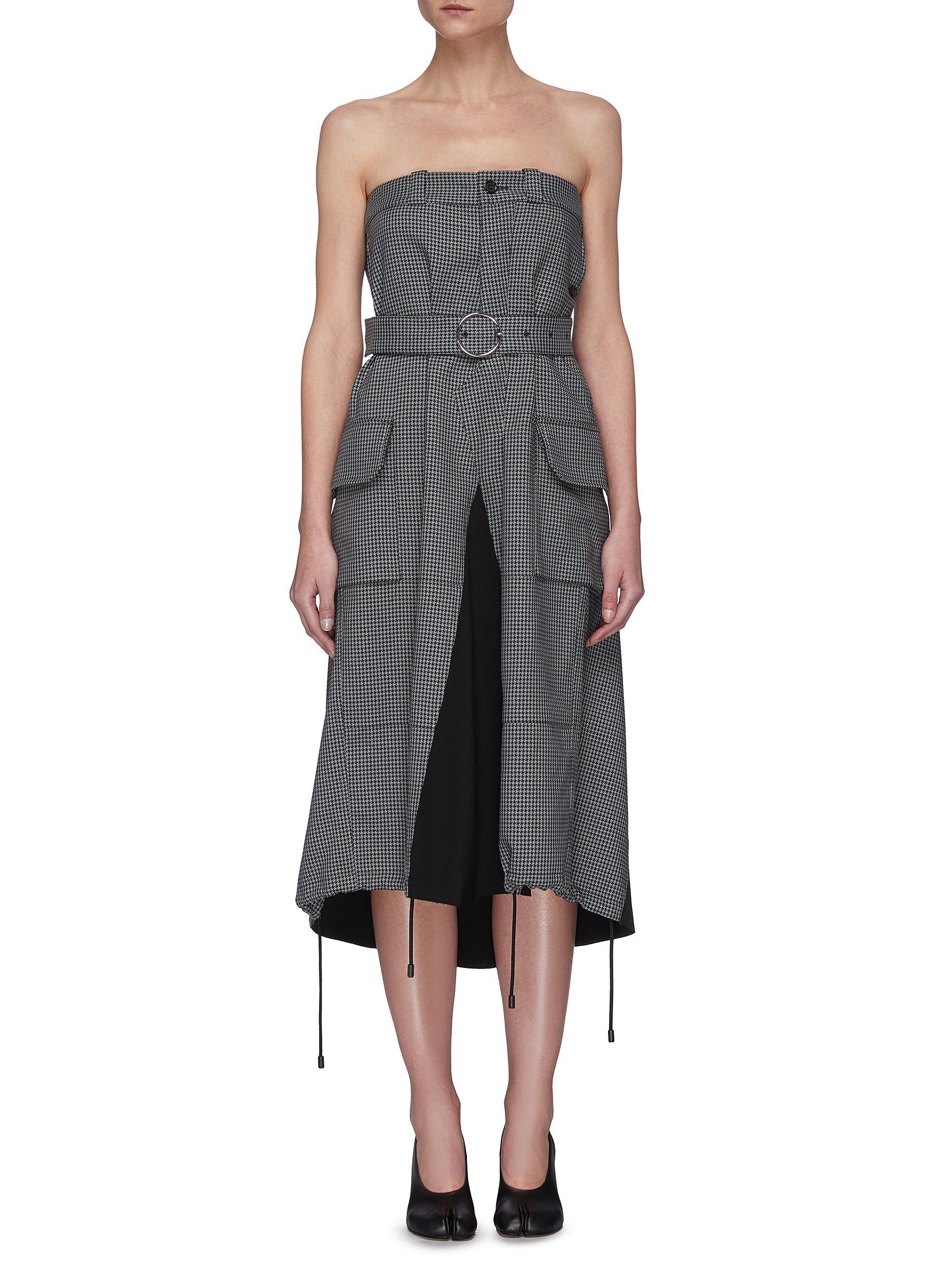 shop Maison Margiela Houndstooth Print Deconstructed Trouser Dress online