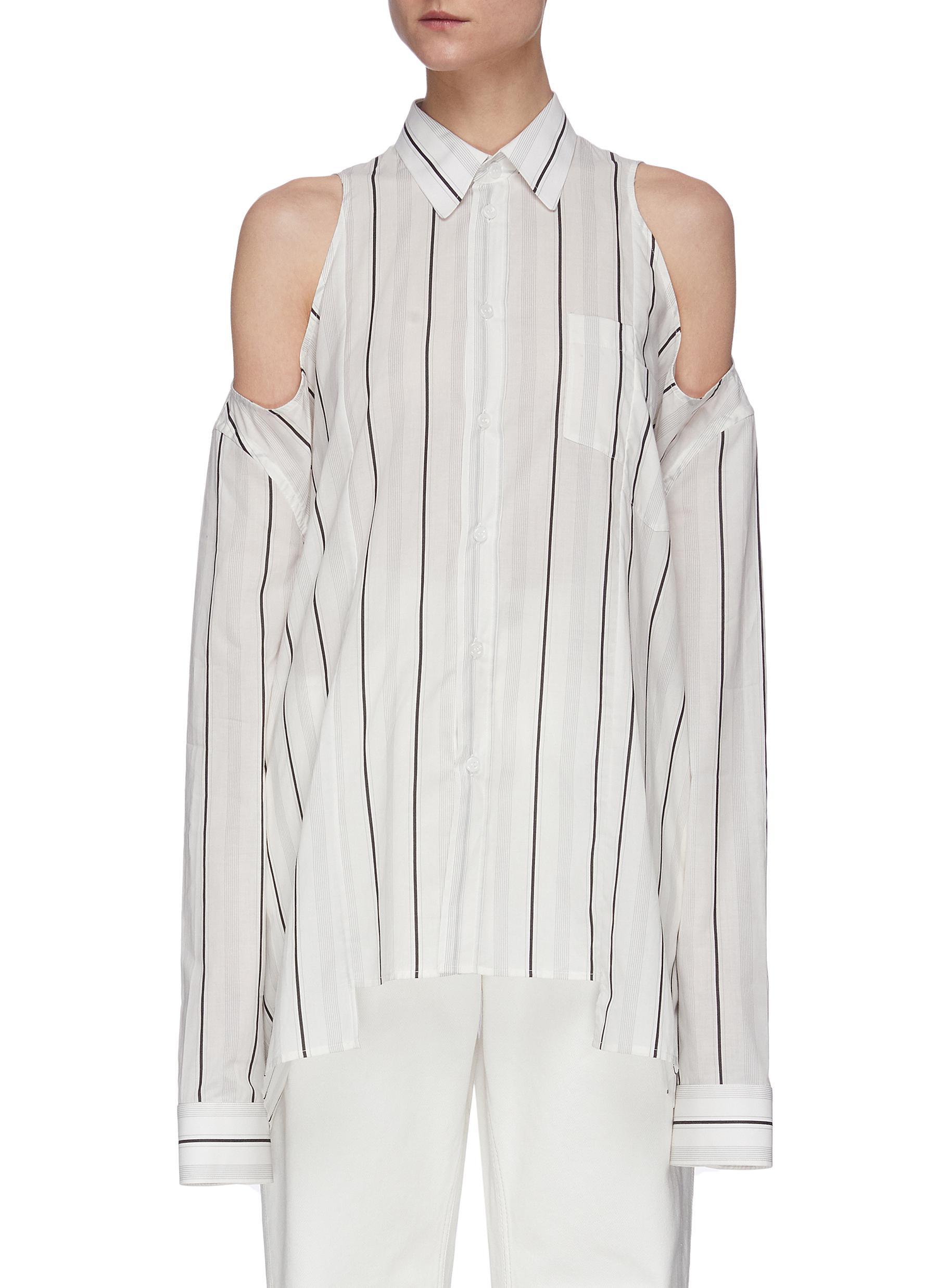 Buy Maison Margiela Tops Cold Shoulder Stripe Button-Up Shirt