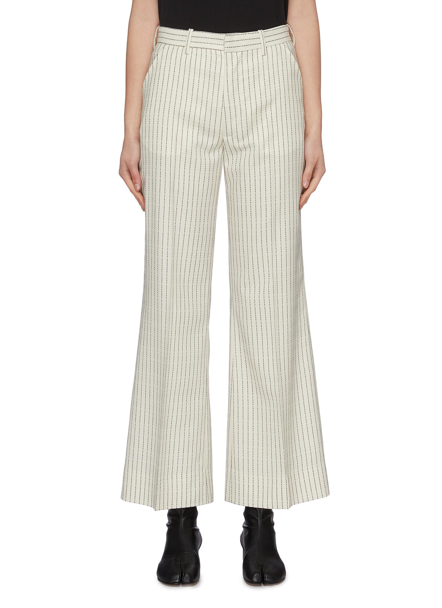 Buy Maison Margiela Pants & Shorts Logo pinstripe flared pants