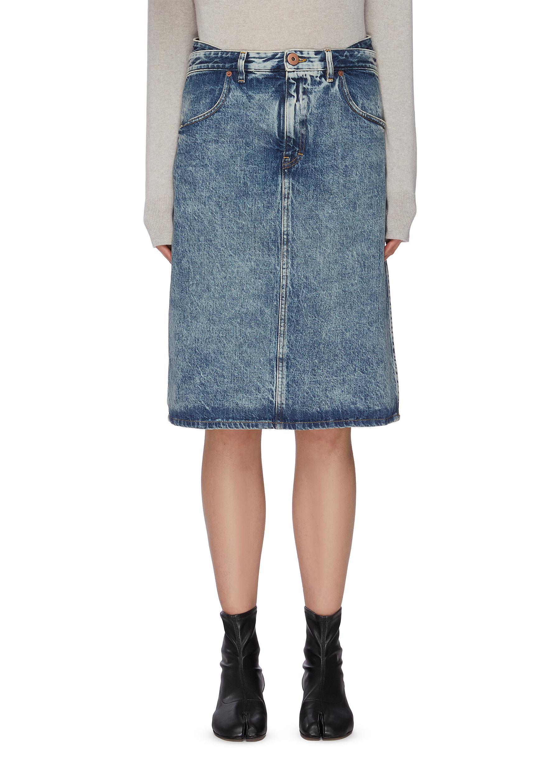 shop Maison Margiela Washed denim midi skirt online