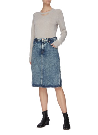 Figure View - Click To Enlarge - MAISON MARGIELA - Washed denim midi skirt