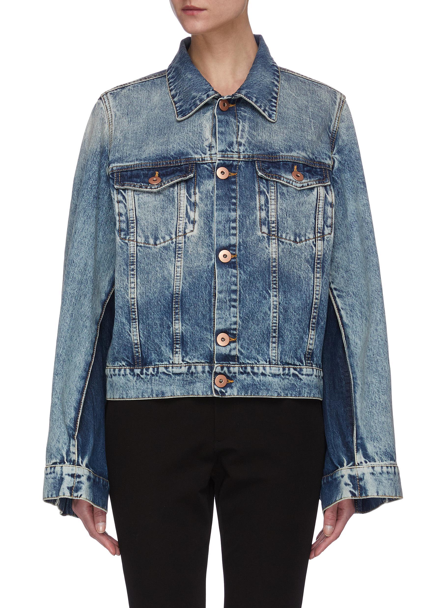 shop Maison Margiela Oversize Panel Sleeve Wash Effect Denim Jacket online