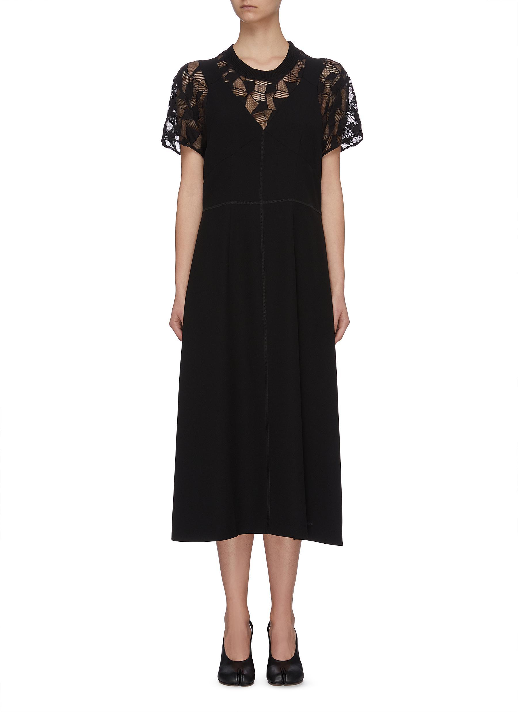 shop Maison Margiela Lace underlay satin crepe midi dress online
