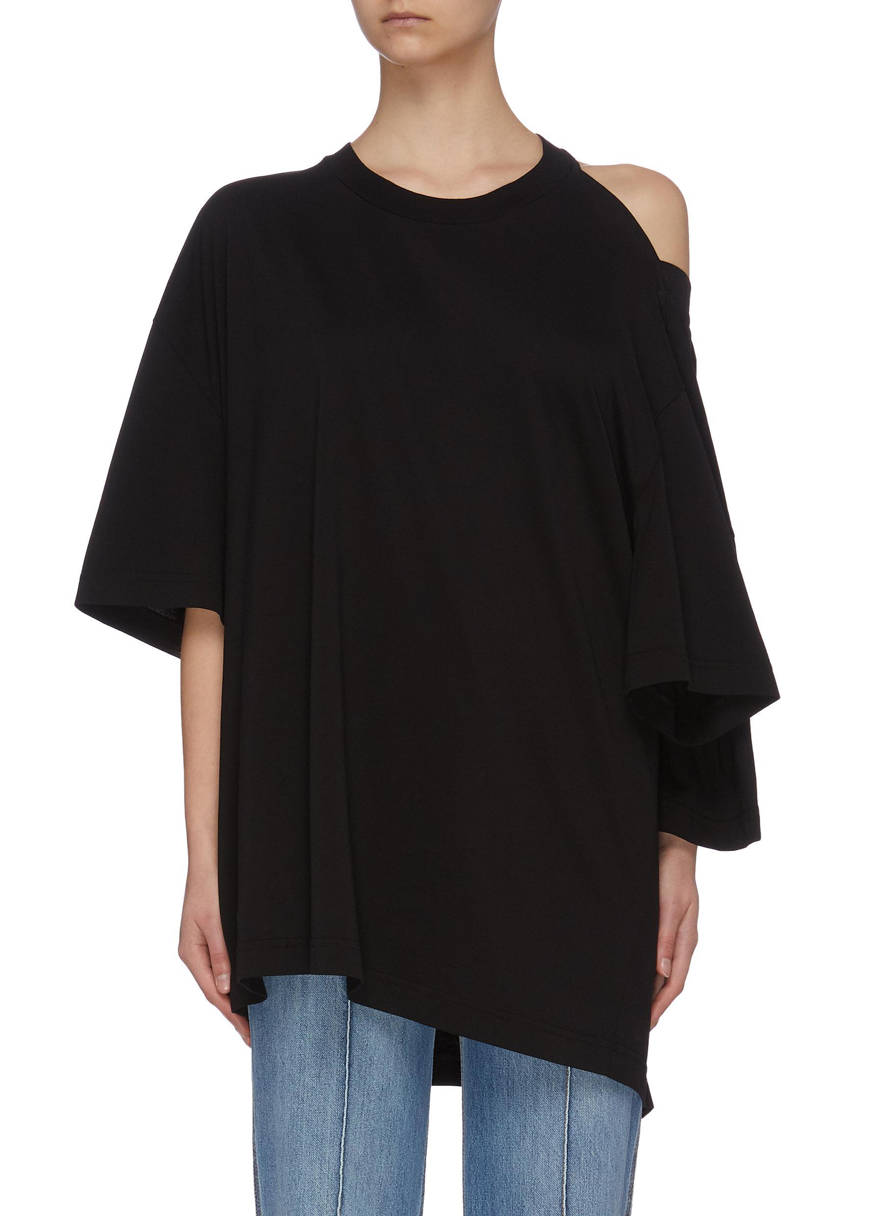 Buy Maison Margiela Tops Asymmetric cold shoulder T-shirt