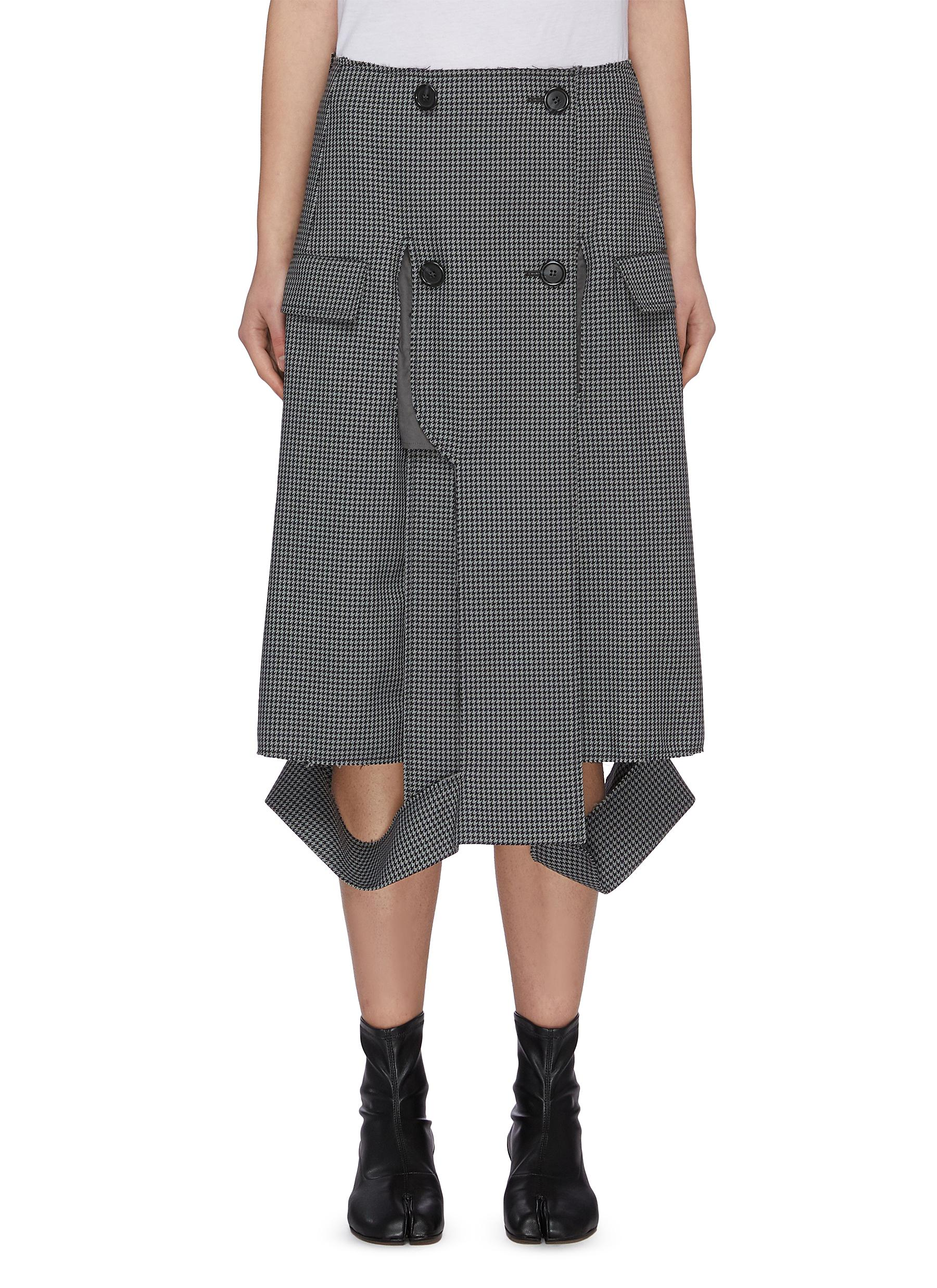 Buy Maison Margiela Skirts Deconstructed hem double breasted houndstooth midi skirt