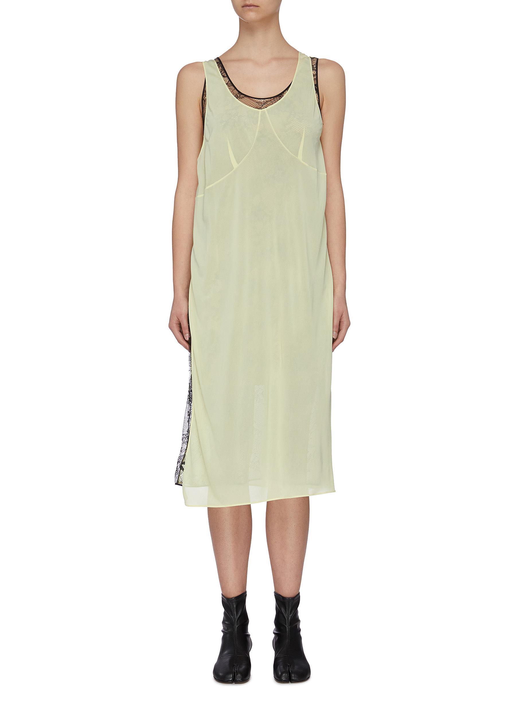 shop Maison Margiela Chantilly lace underlay tank dress online