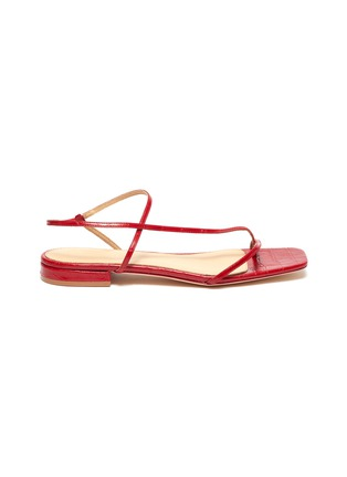 Main View - Click To Enlarge - STUDIO AMELIA - '1.2' strappy slingback croc embossed leather sandals