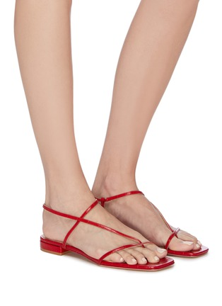Figure View - Click To Enlarge - STUDIO AMELIA - '1.2' strappy slingback croc embossed leather sandals