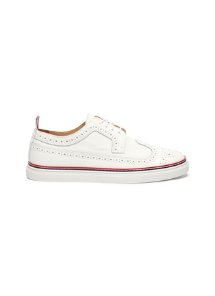 Main View - Click To Enlarge - THOM BROWNE - Contrast stripe cupsole pebble grain longwing brogue derbies