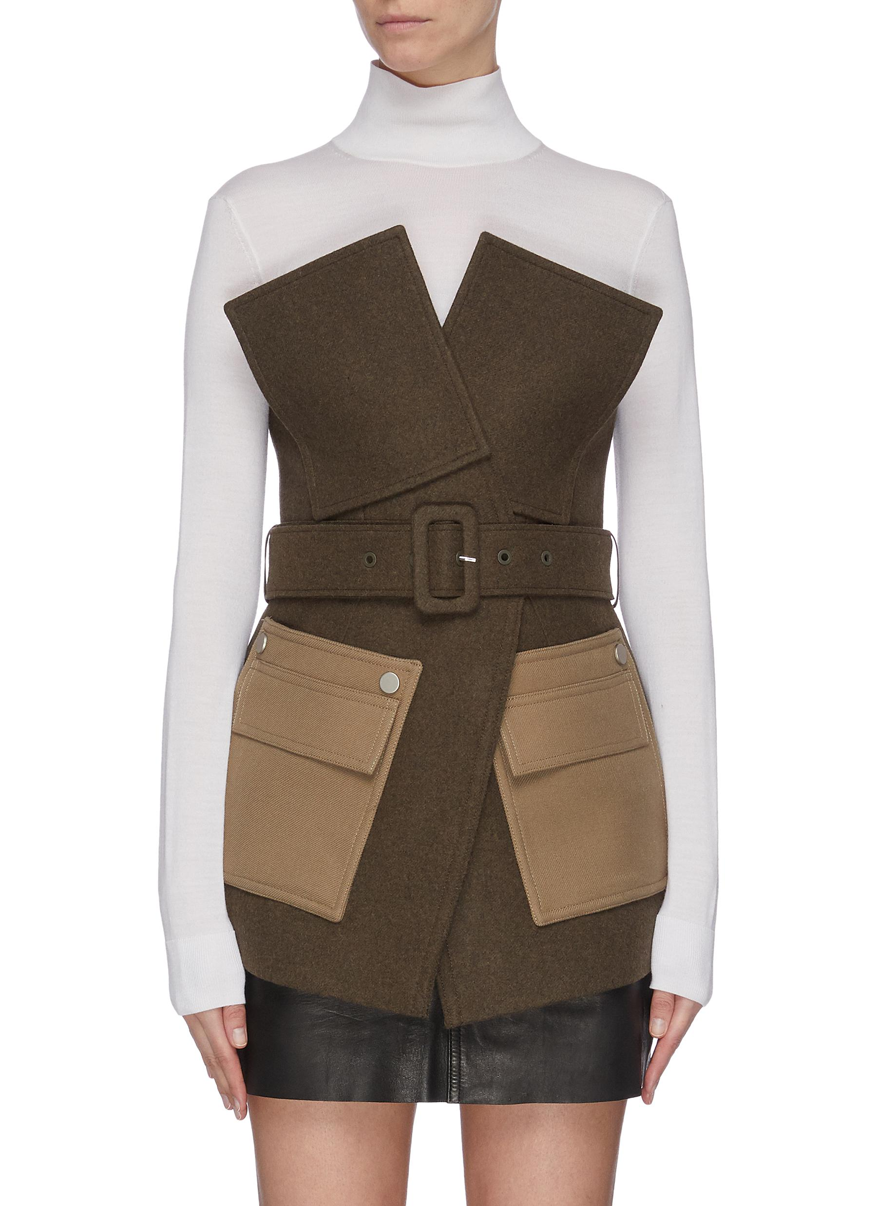 shop Comme Moi Belted contrast pocket jacket online