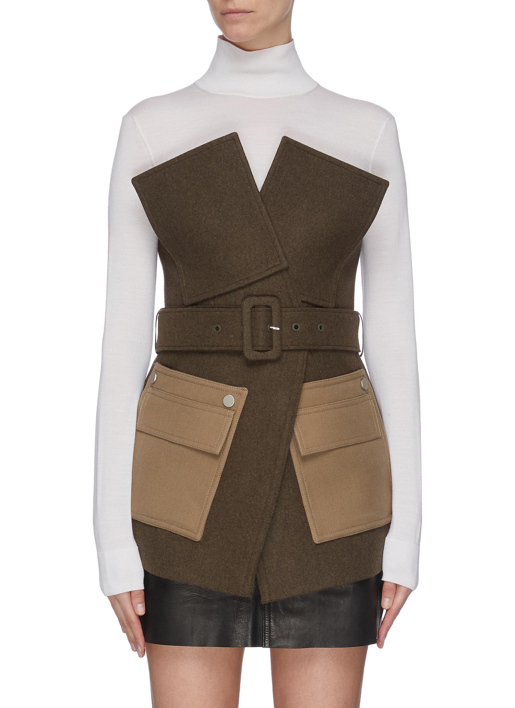 Buy Comme Moi Jackets Belted contrast pocket jacket