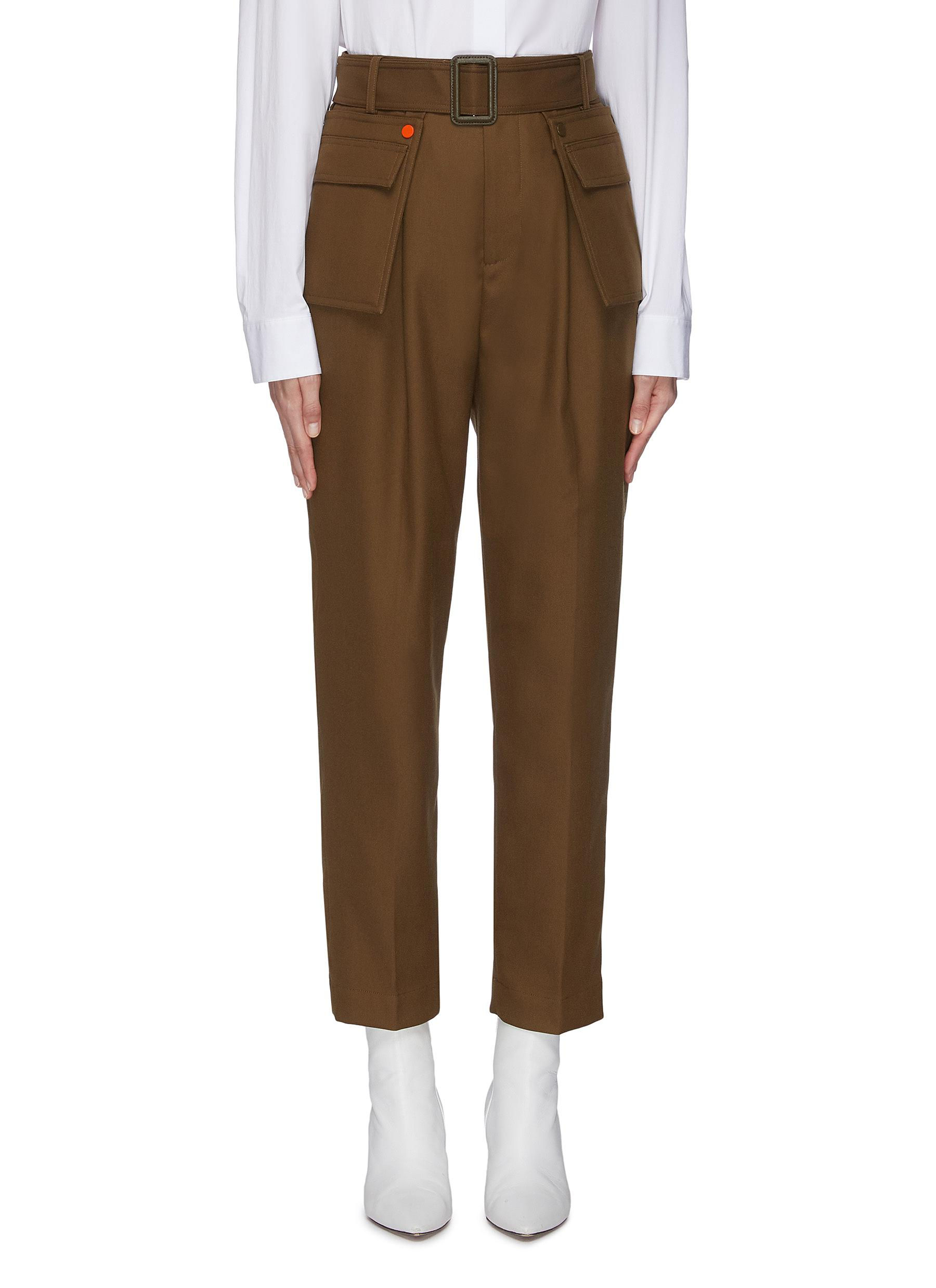 Buy Comme Moi Pants & Shorts Flap pocket belted pants