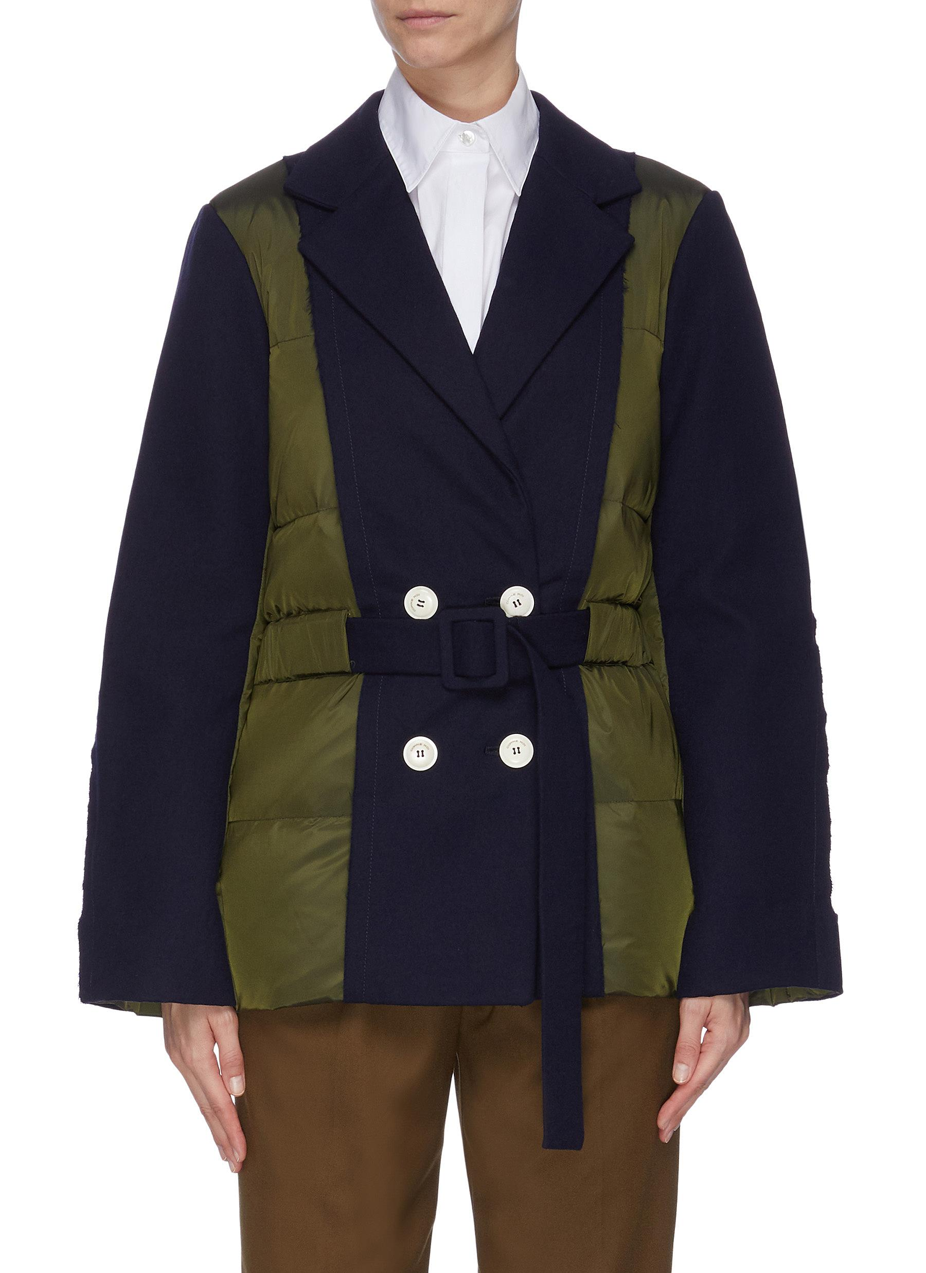 shop Comme Moi Colourblock puffer panel belted blazer online
