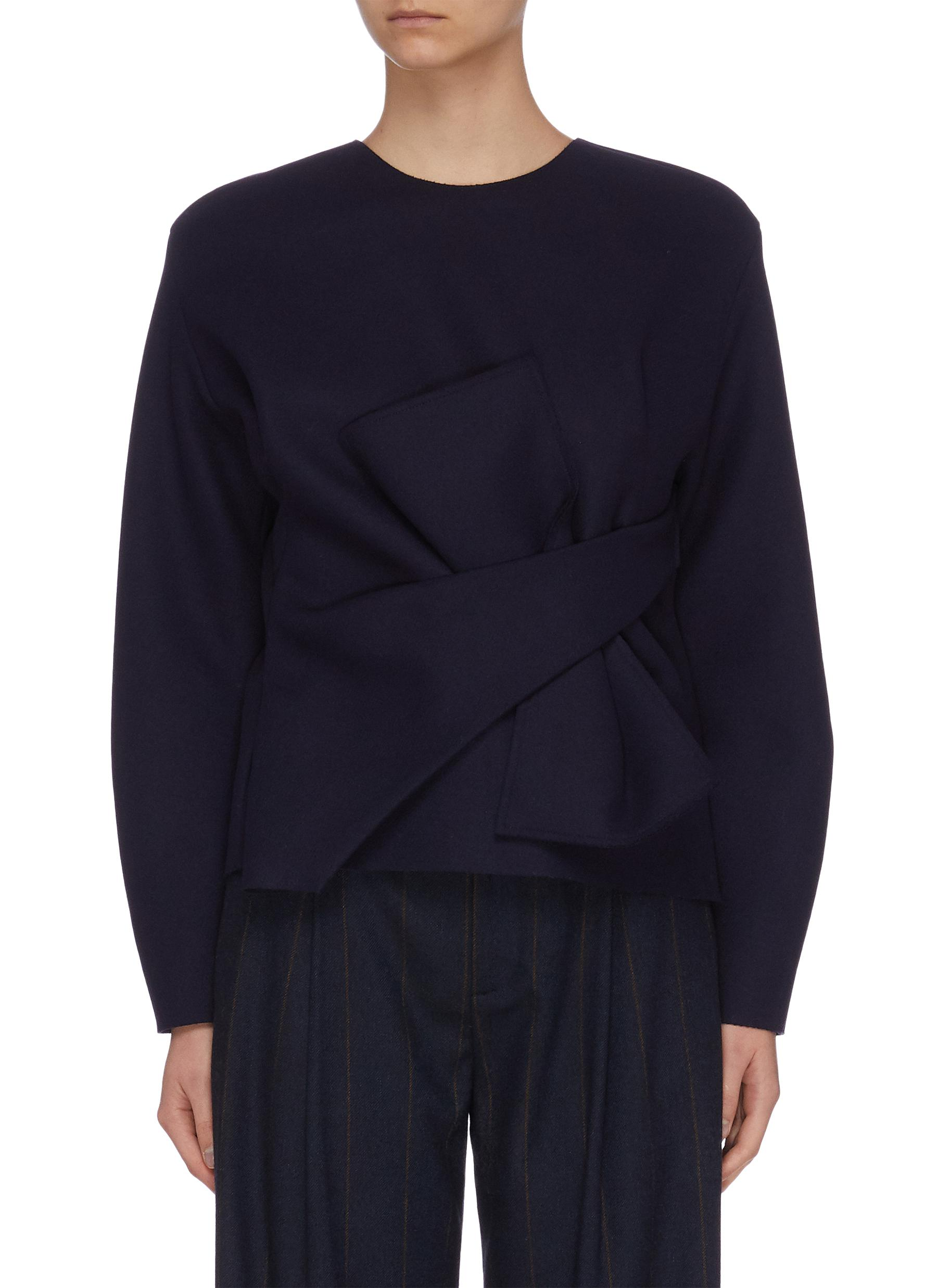 Buy Comme Moi Tops Oversized long sleeve ribbon top