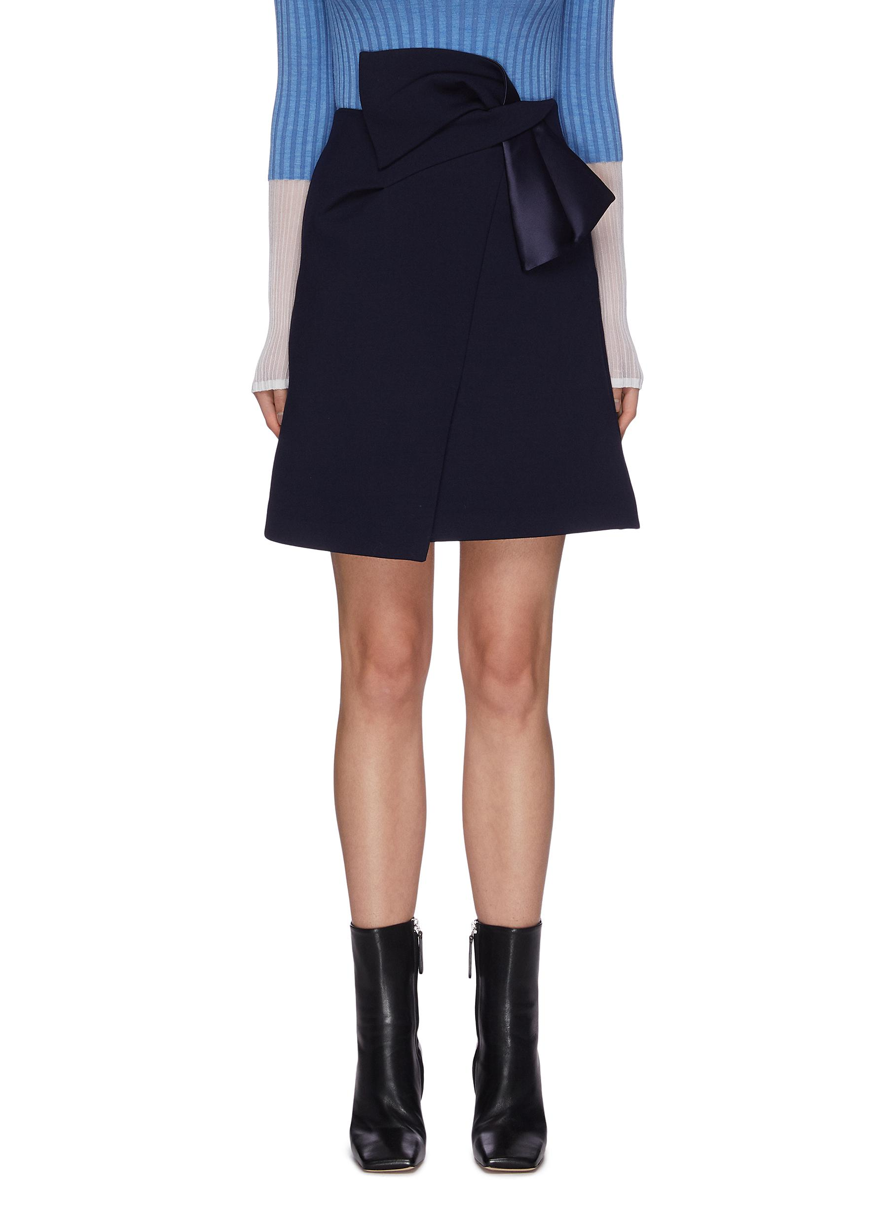shop Comme Moi Asymmetric high waist ribbon skirt online