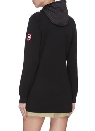 Back View - Click To Enlarge - CANADA GOOSE - 'Windbridge' nylon panelled knit sleeve hooded cardigan