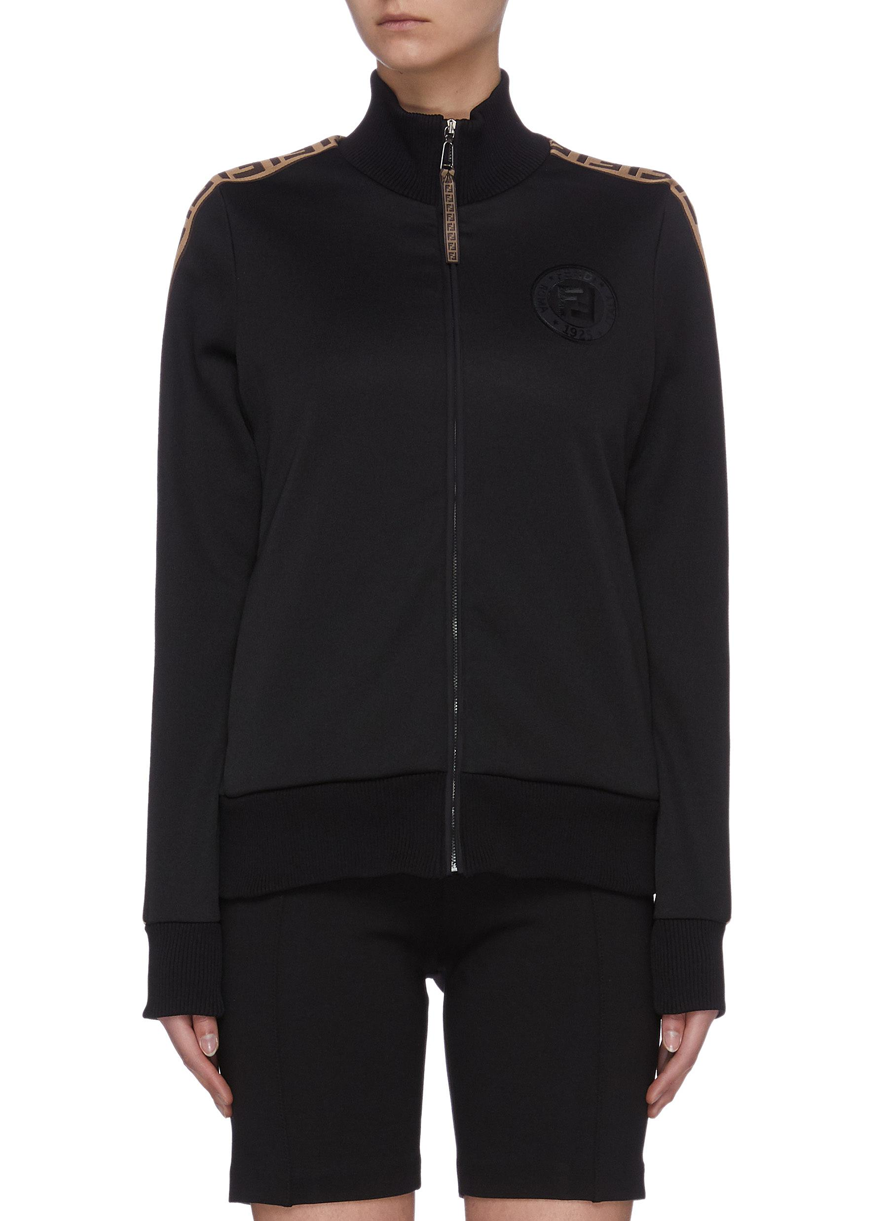 shop Fendi Sport 'Fendirama' logo embroidered panel outseam zip-up jacket online