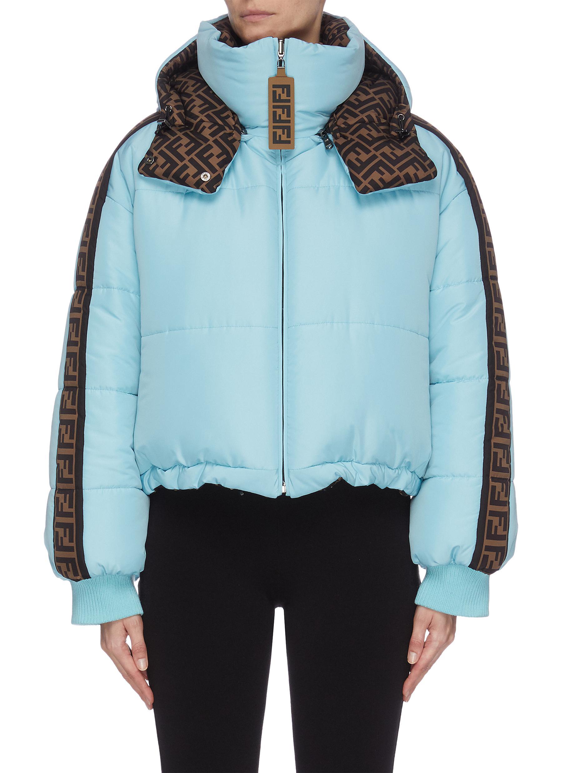 Buy Fendi Sport Jackets 'FENDIRAMA' logo print outseam cropped down reversible jacket