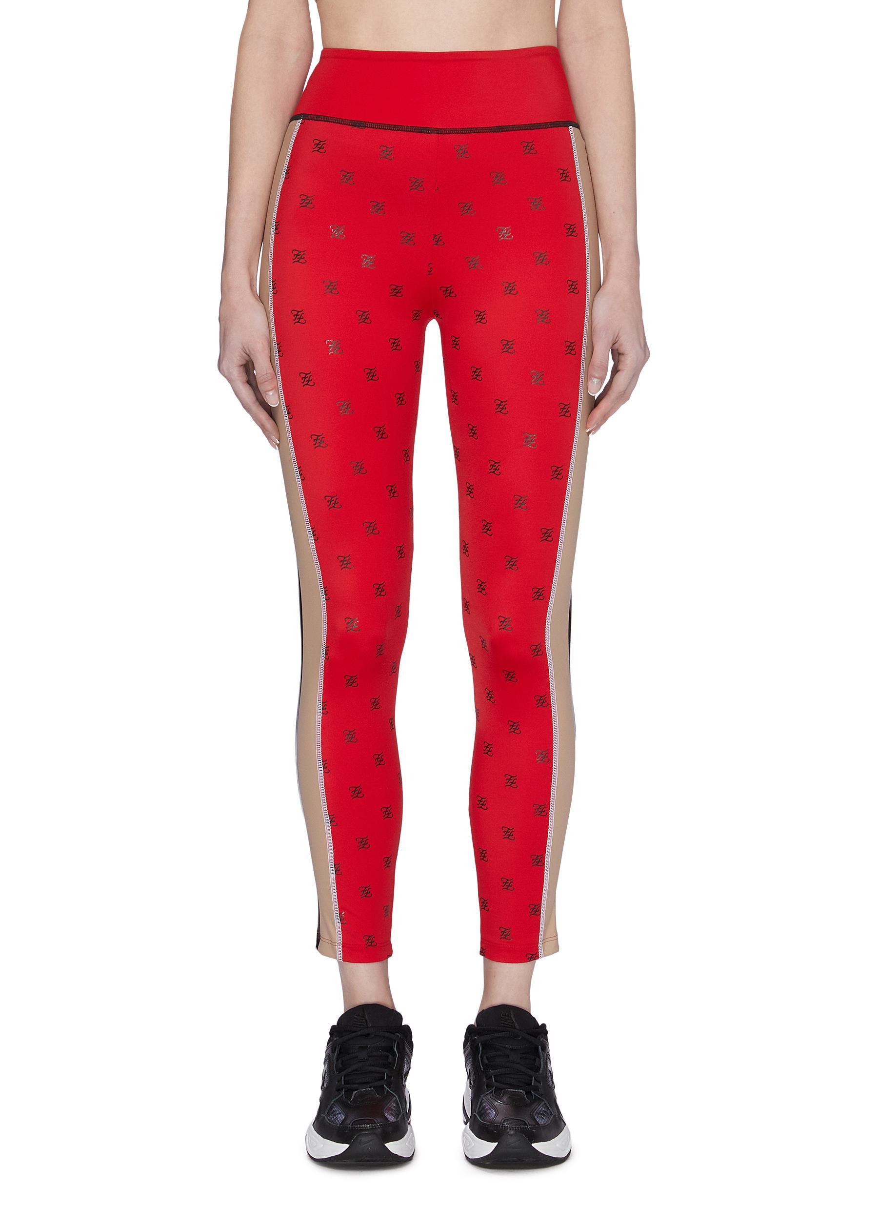 Buy Fendi Sport Pants & Shorts 'Karligraphy' logo print leggings