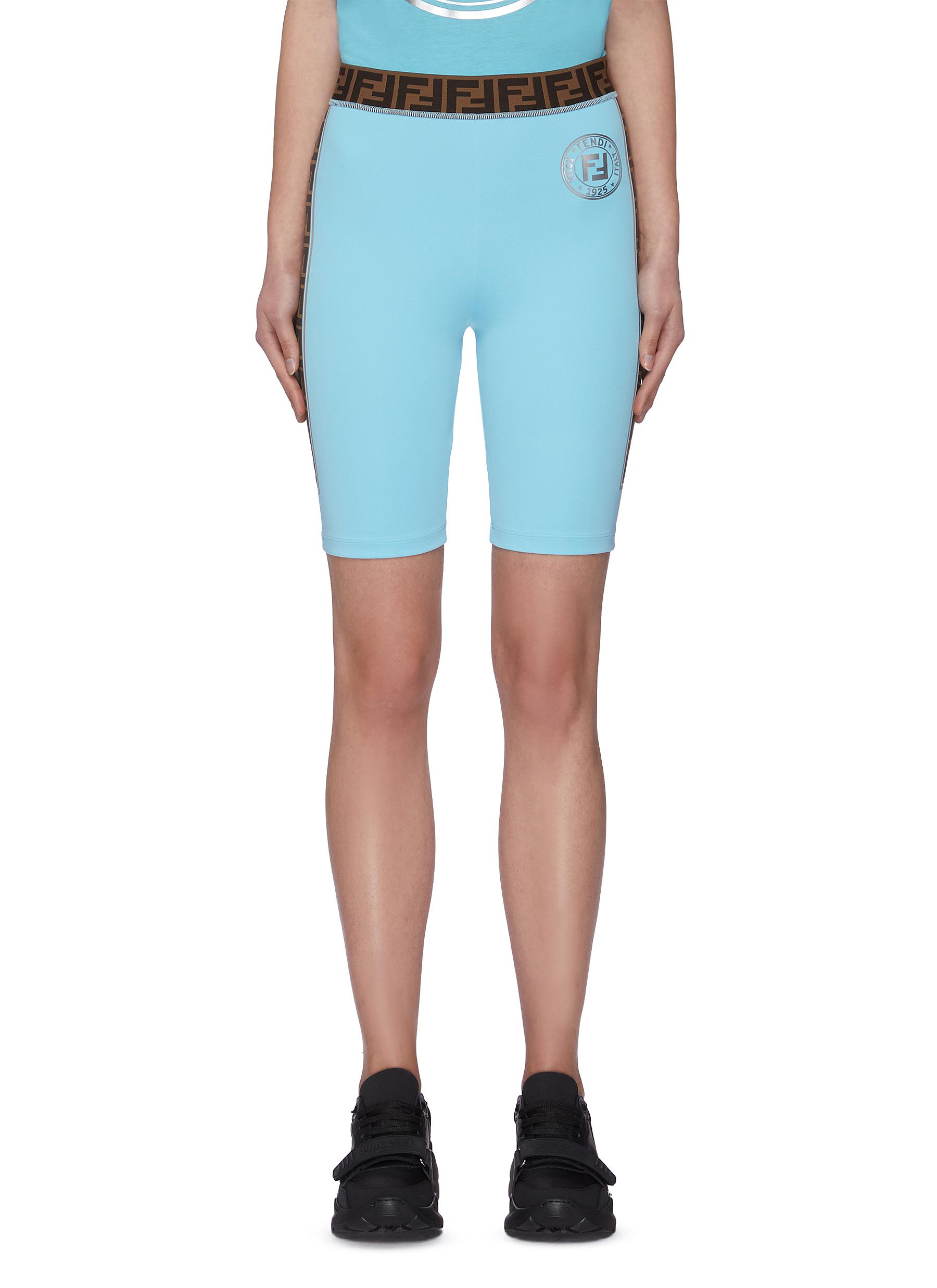 shop Fendi Sport 'Fendirama' logo webbing waist band biker shorts online