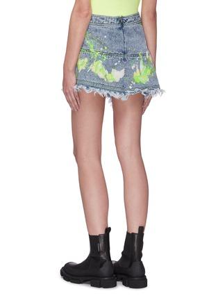 Back View - Click To Enlarge - ANGEL CHEN - Paint Splatter Mini Wrap Skirt