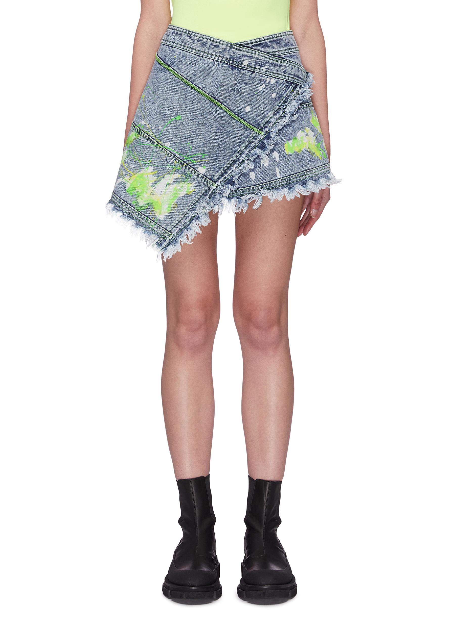 shop Angel Chen Paint Splatter Mini Wrap Skirt online