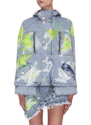 Main View - Click To Enlarge - ANGEL CHEN - Paint Splash Denim Crop Parka Jacket