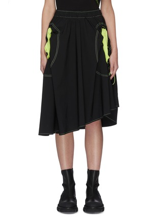 Main View - Click To Enlarge - ANGEL CHEN - Neon Cut-out Pockets Asymmetric Skirt