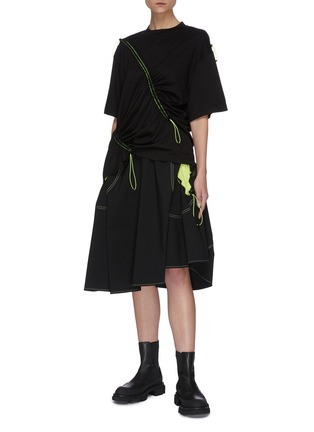 Figure View - Click To Enlarge - ANGEL CHEN - Neon Cut-out Pockets Asymmetric Skirt