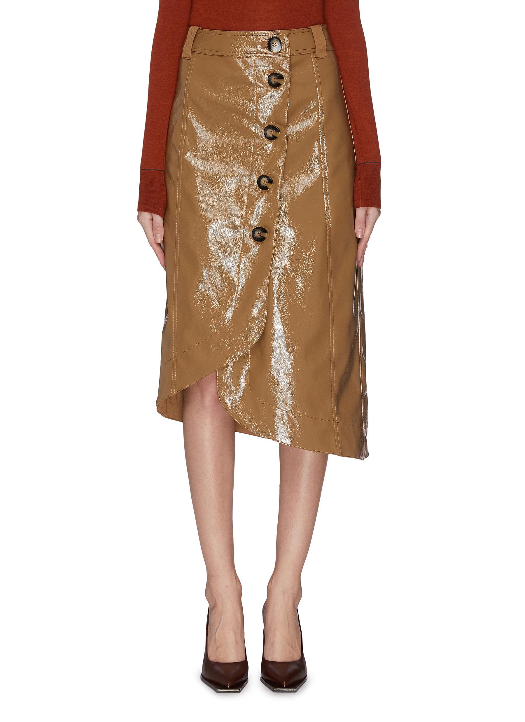 shop Ganni Patent leather midi skirt online