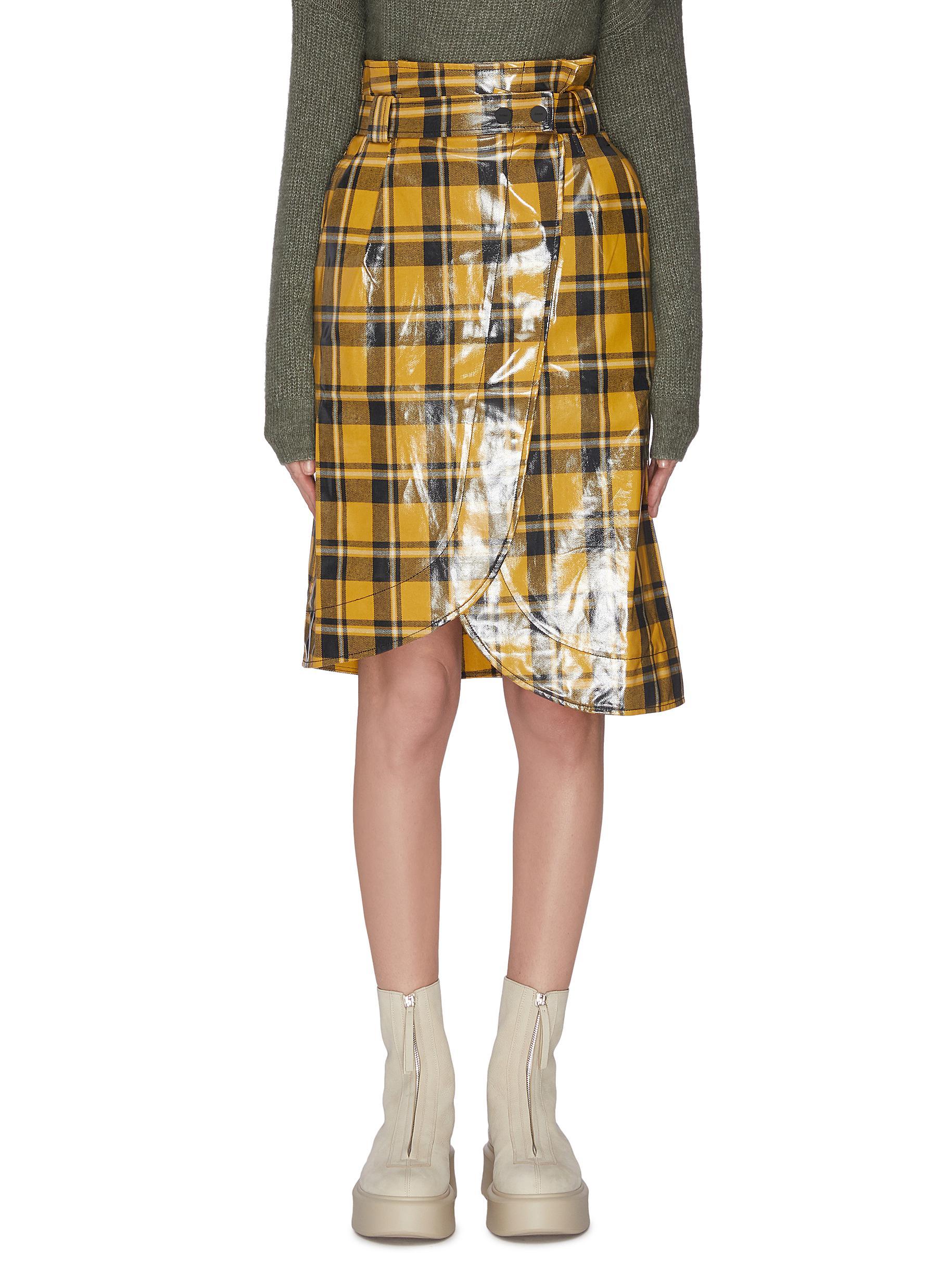 shop Ganni Coated twill midi skirt online