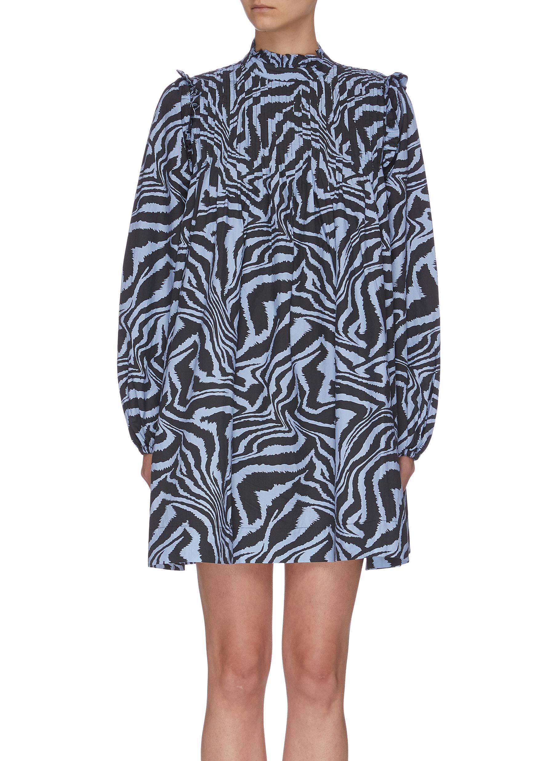 shop Ganni Animal Print Cotton Poplin Dress online