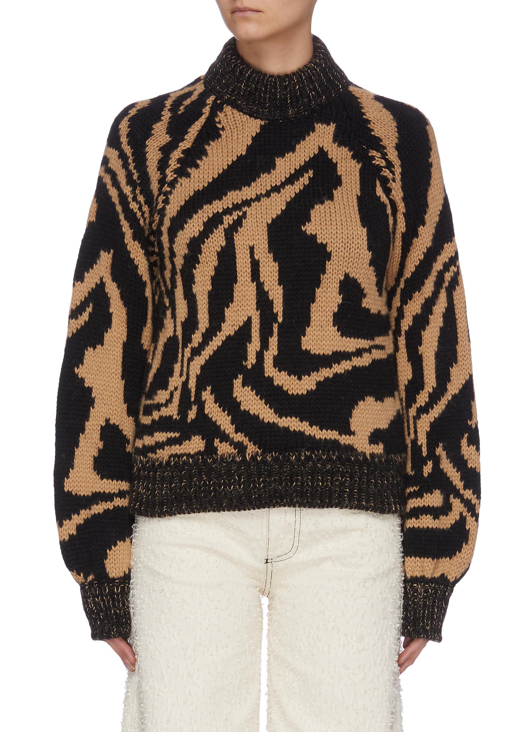 Buy Ganni Knitwear Oversized Hand Knit Wool Sweater