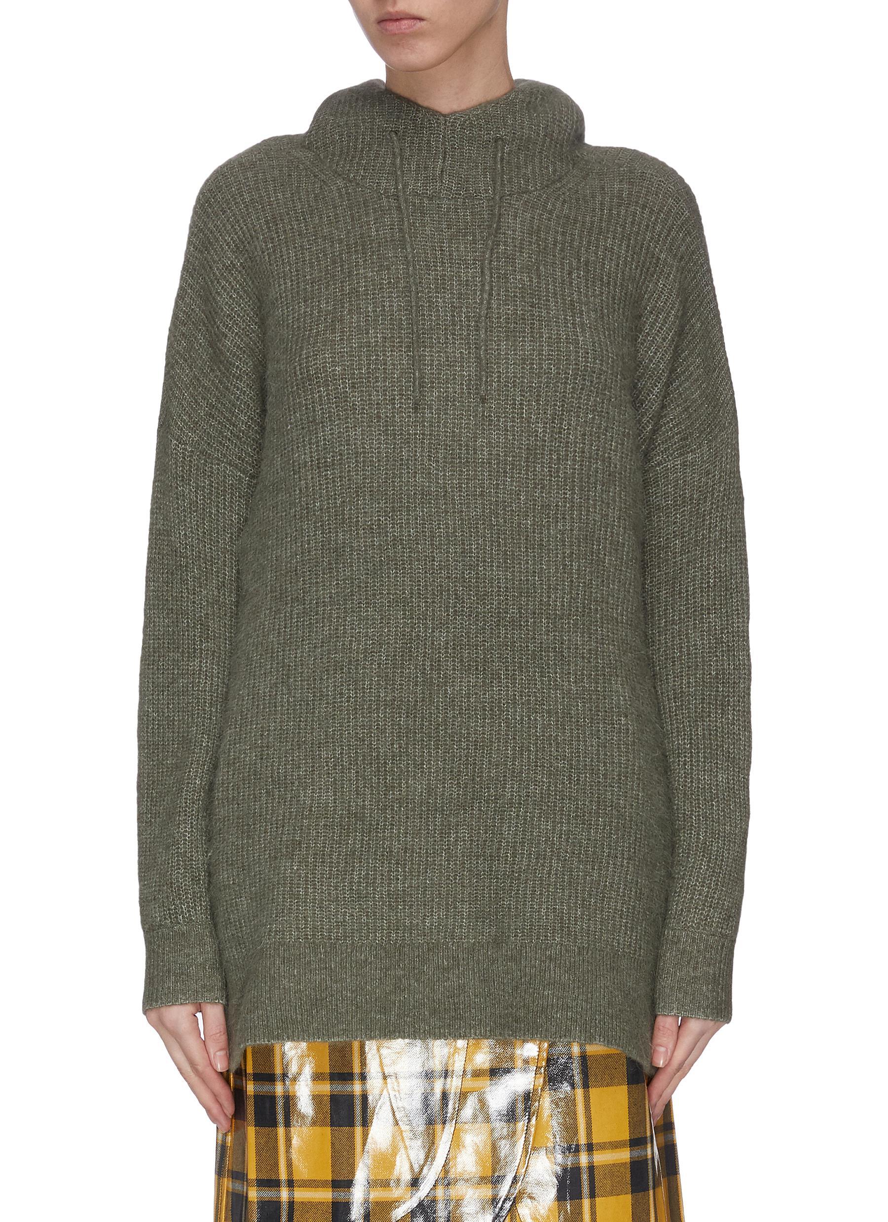 shop Ganni Wool knit hoodie online
