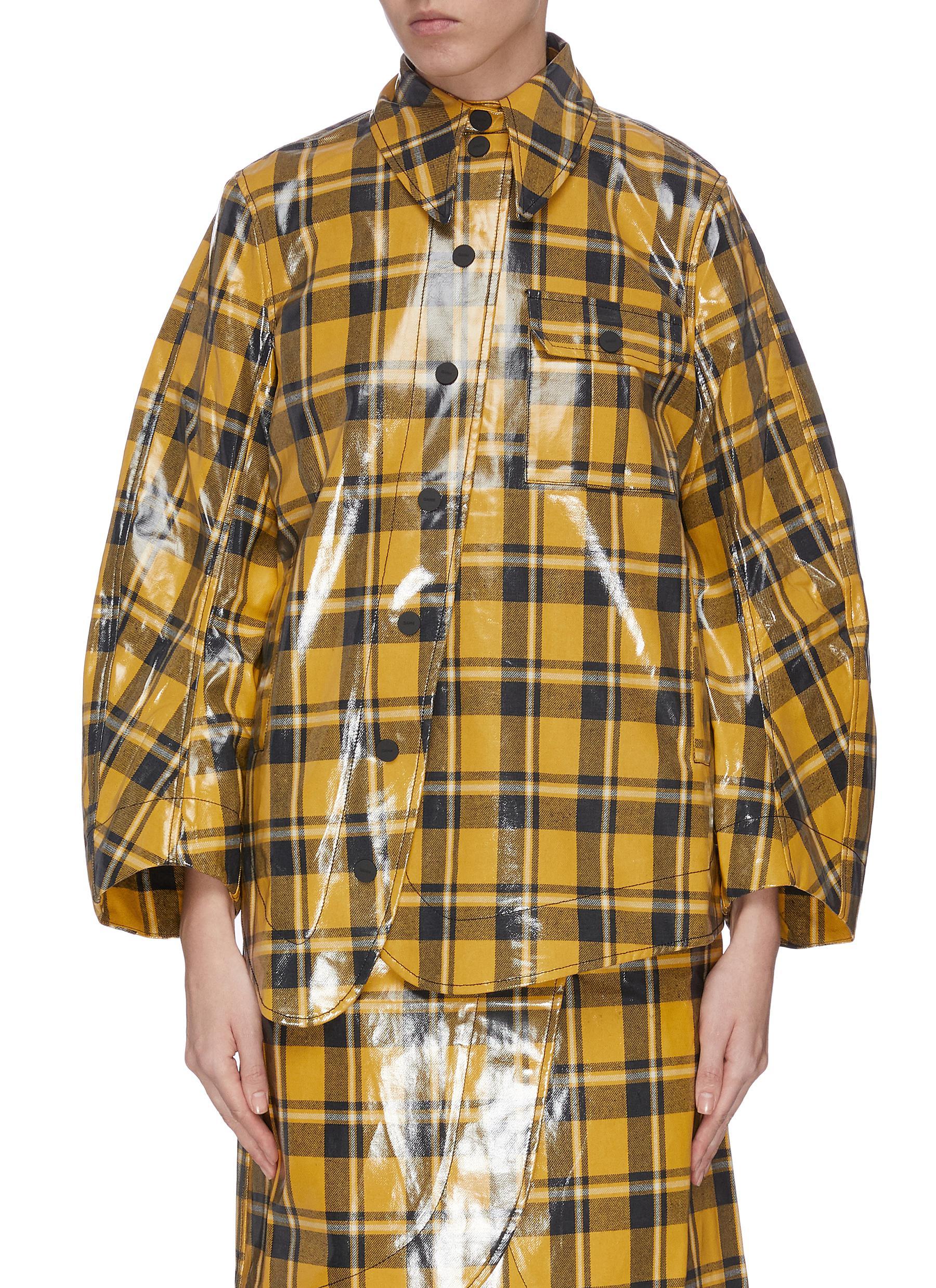 shop Ganni Oversized coated check twill shirt online