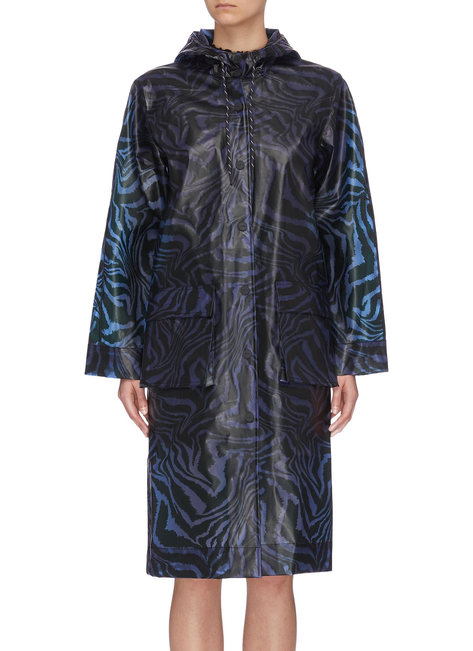shop Ganni Animal Print Biodegradable Raincoat online