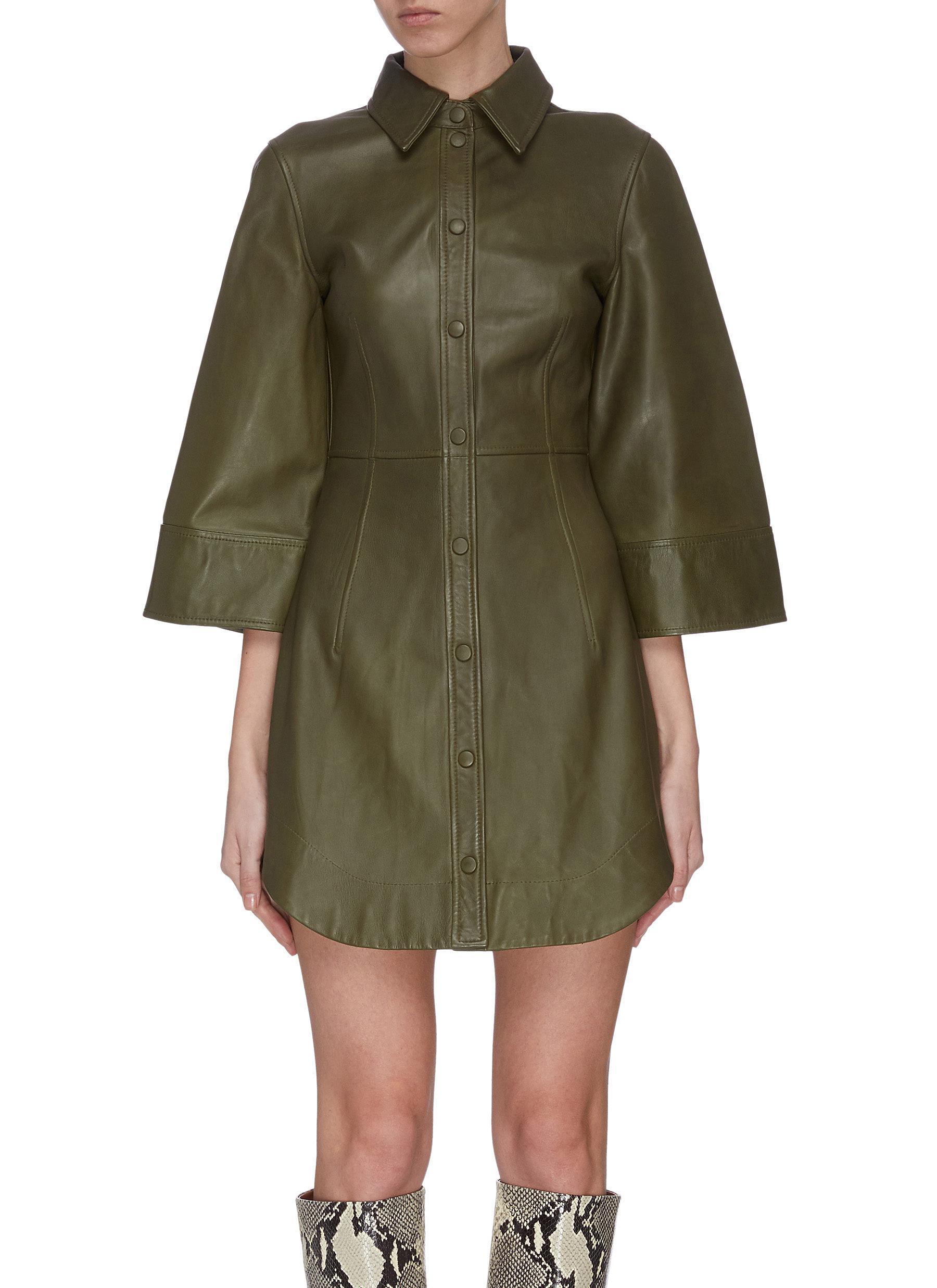 shop Ganni Leather mini dress online