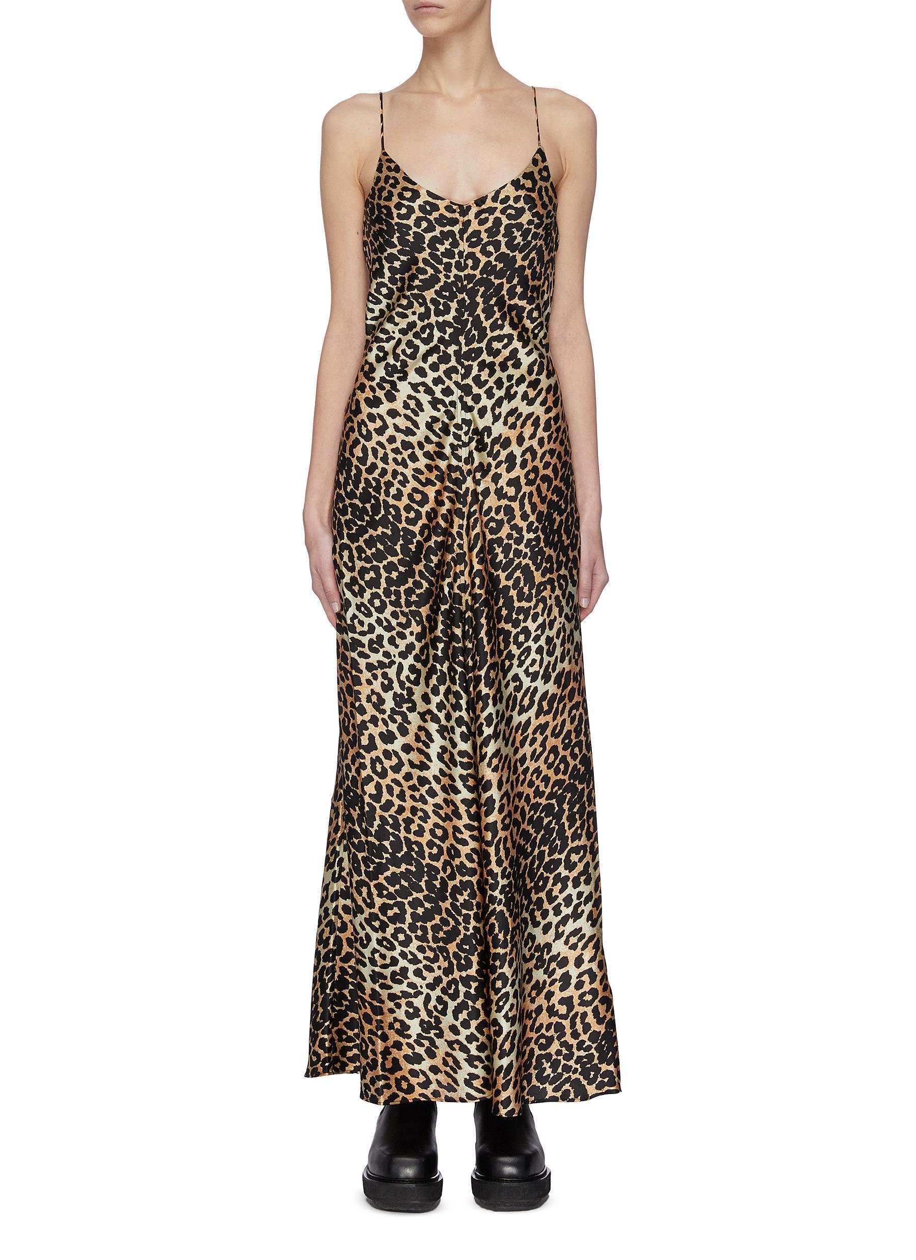 shop Ganni Animal Print Stretch Silk Satin Dress online