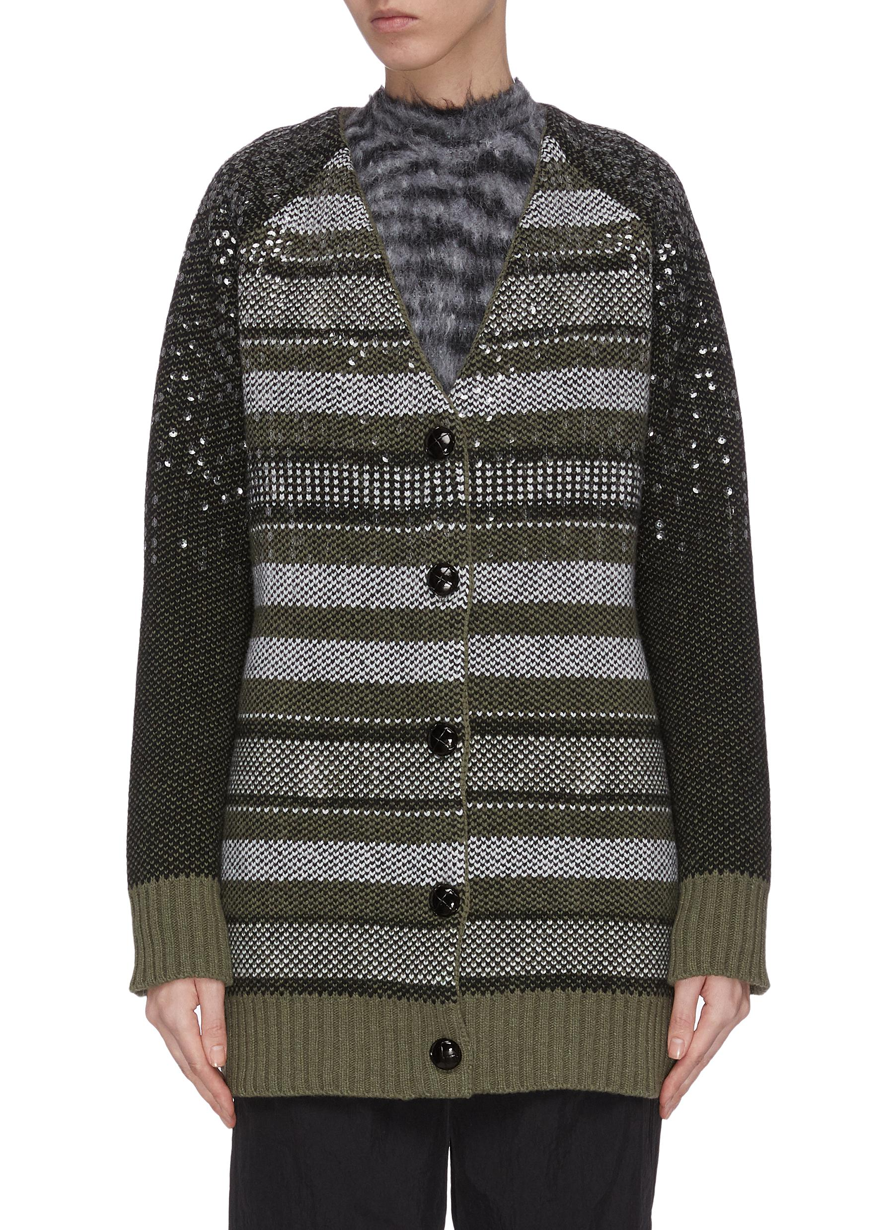 shop Ganni Oversized sequin embellished stripe knit cardigan online
