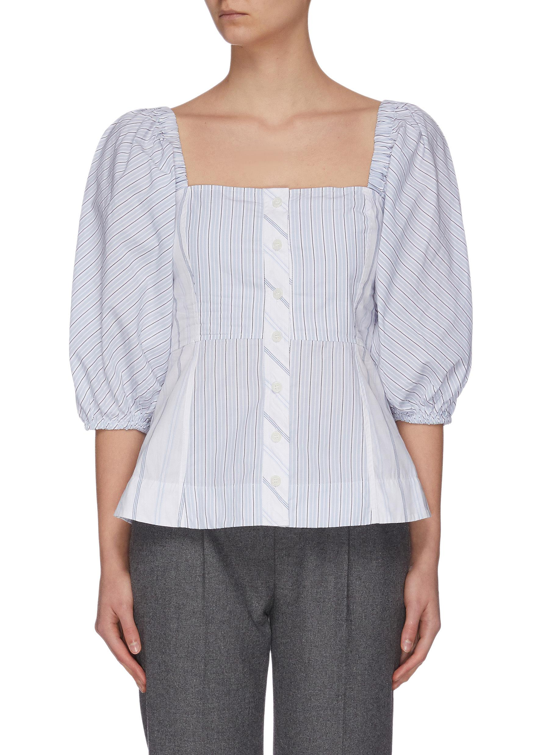 Buy Ganni Tops Cinched Cotton Shirt