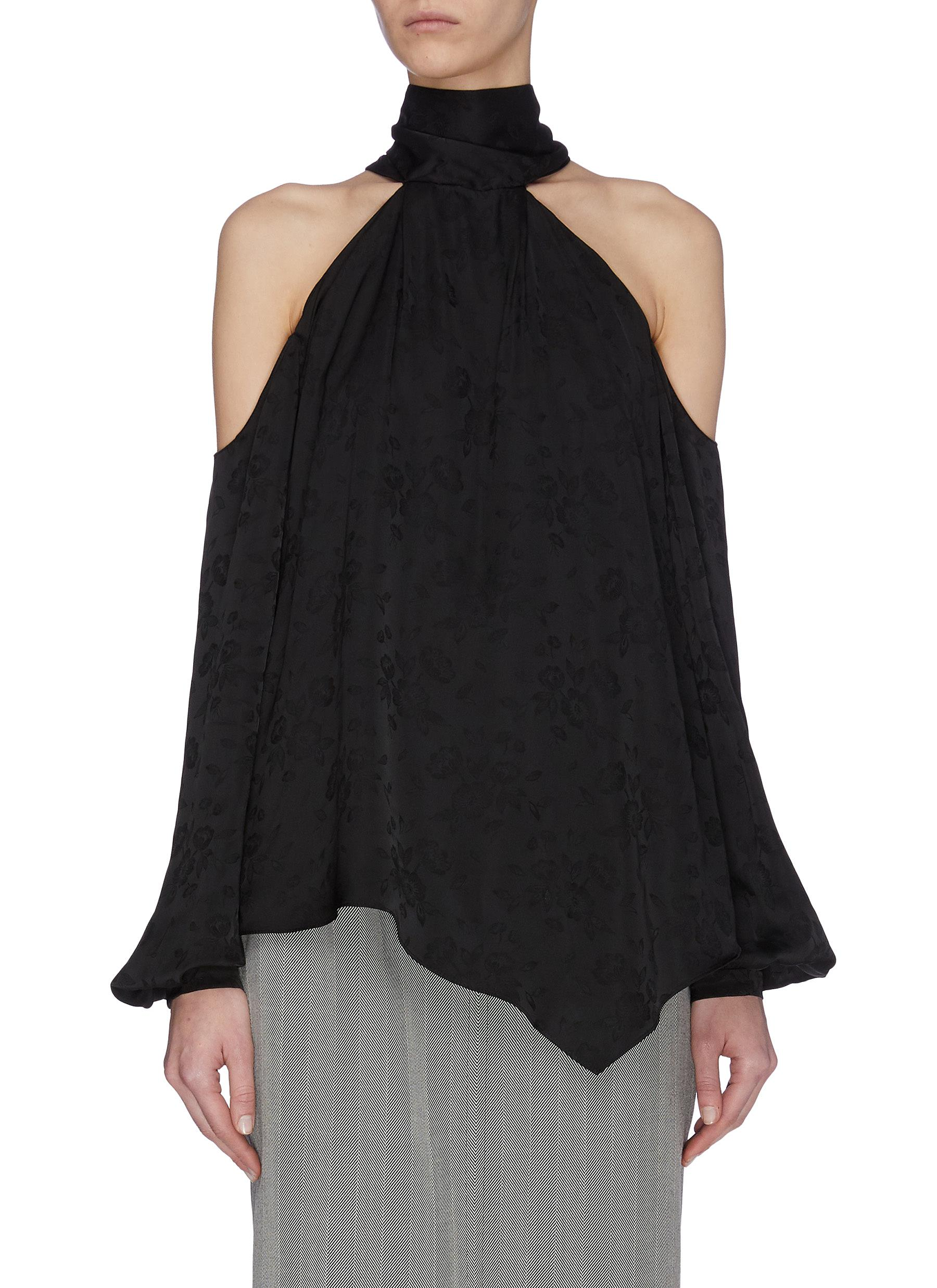 shop Racil Asymmetric hem turtleneck halter blouse online