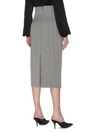 Back View - Click To Enlarge - RACIL - Back slit stripe wool pencil skirt