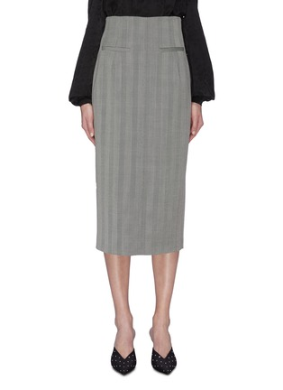 Main View - Click To Enlarge - RACIL - Back slit stripe wool pencil skirt