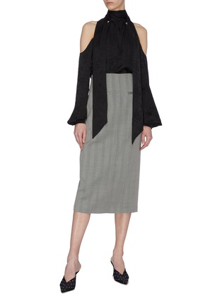 Figure View - Click To Enlarge - RACIL - Back slit stripe wool pencil skirt