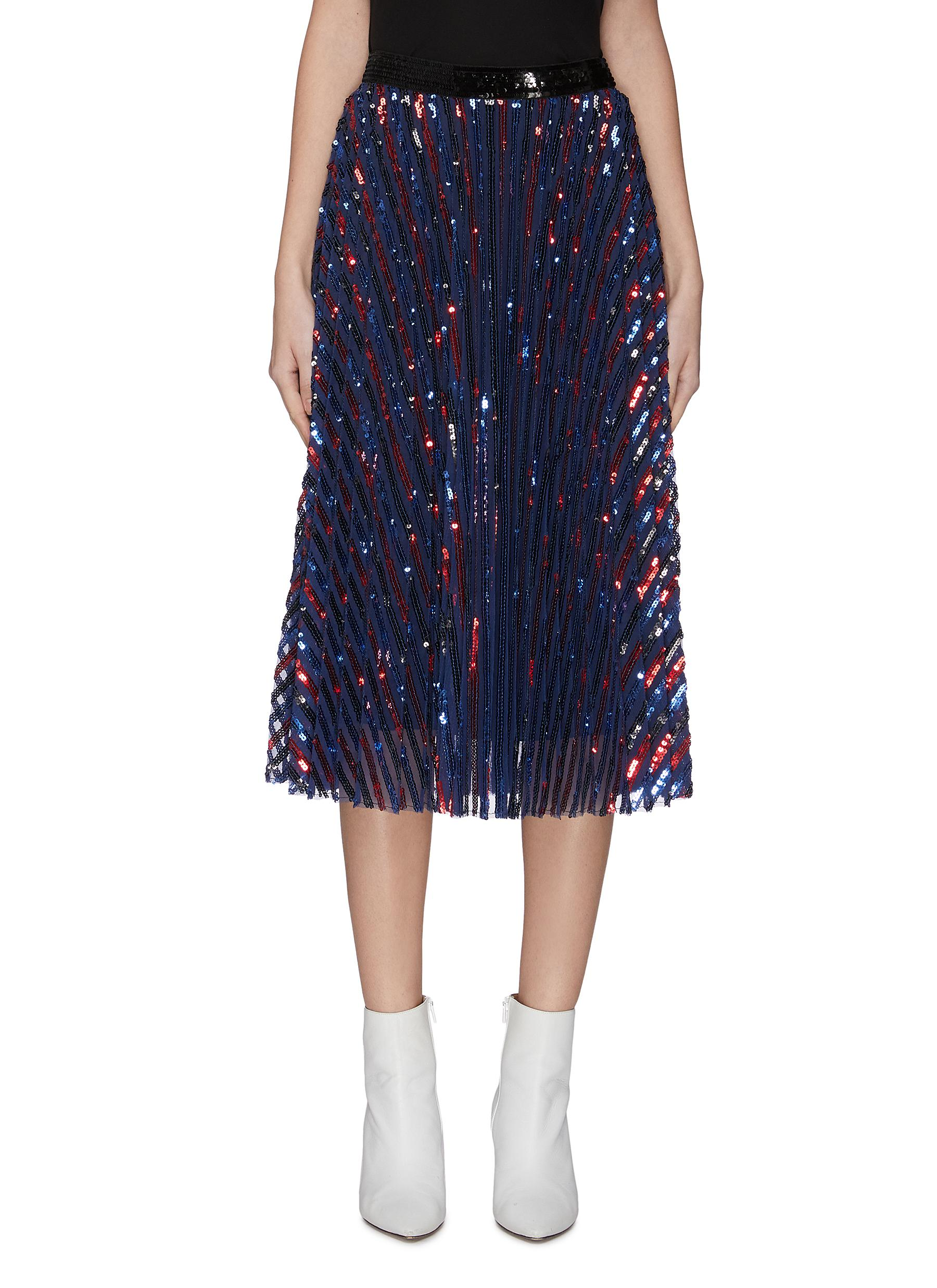 shop Philosophy Di Lorenzo Serafini Sequin embellished pleated sheer midi skirt online